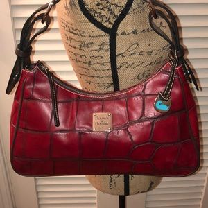 Dooney and Bourke RedCroc Embossed Leather Hobo